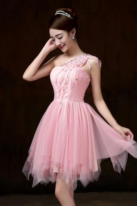 Fashion new One Shoulder Dress - Pink