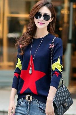 Sweet Round Neck Long Sleeve Sweater