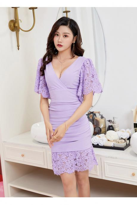 Sexy V Neck Lace Patchwork Short Sleeve Dress
