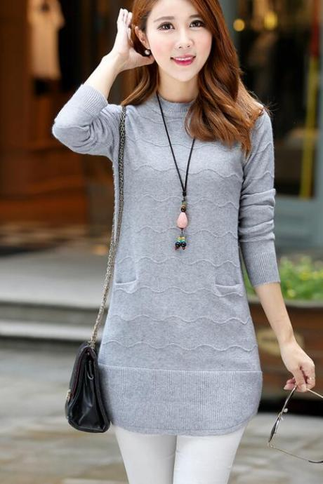 Knitting Womens Long Sleeves Long Style Loose Sweater - Grey