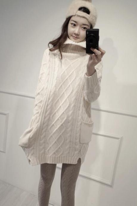 New Winter Turtleneck Loose Sweater For Women - Beige