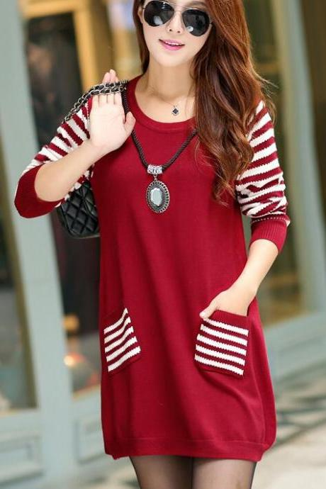 New Round Neck Long Sleeve Loose Sweater For Women - Wine Red