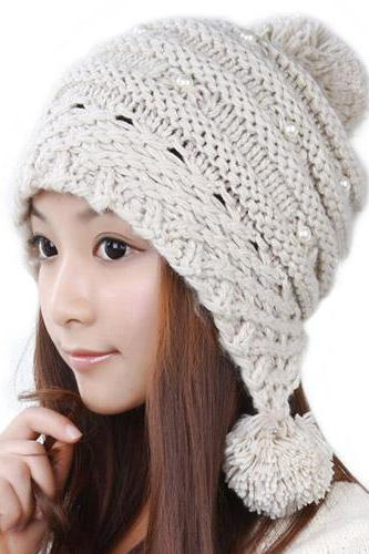 Free Shipping Lovely Female Winter Hat Knit Wool Cap - Beige