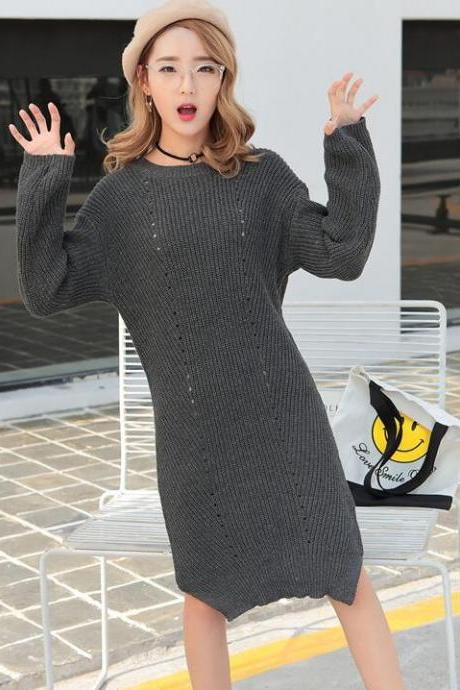 Autumn Long Sleeve Knit Loose Sweater Dress