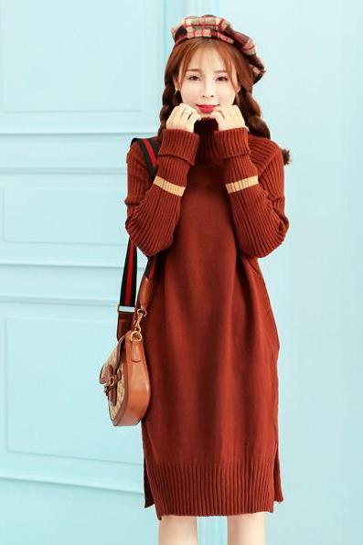 Fashion Long Sleeve Long Pattern Purplish Wine Red Sweater Dress