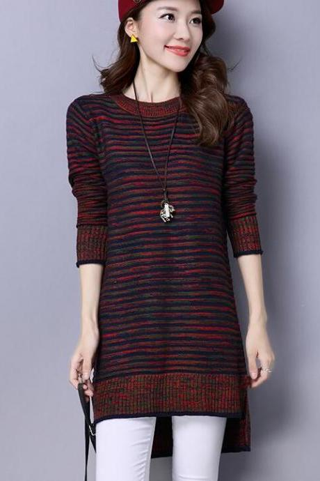 New Strip Loose Long Sleeve Long Pattern Sweater Dress