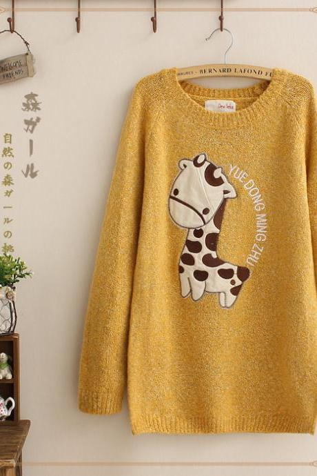 Cute Giraffe Loose Pullover Sweater - Yellow