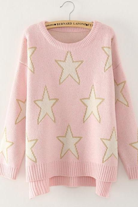 Lucky Stars Round Neck Long Sleeve Sweaters