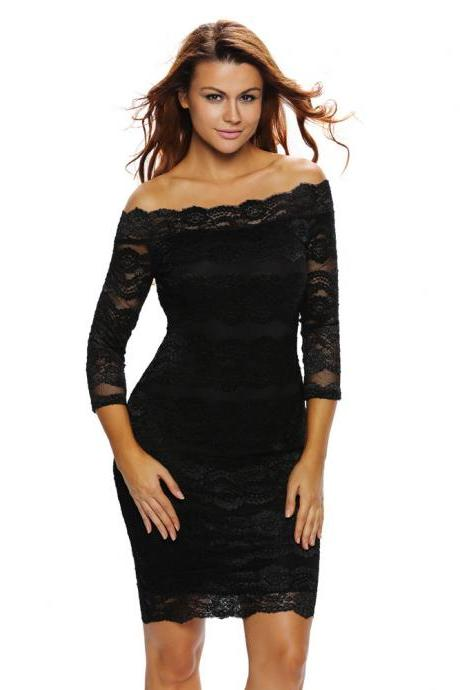 Sexy Lace Design Off Shoulder Dress
