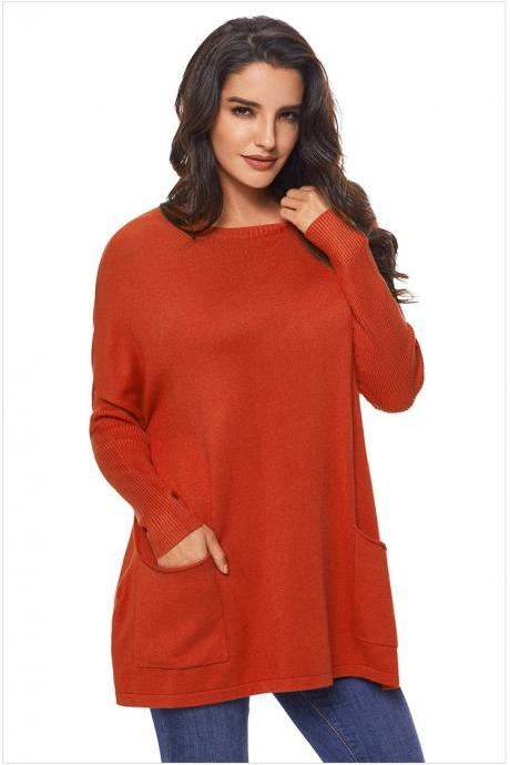 Orange Long Sleeve Sweater With Pockets