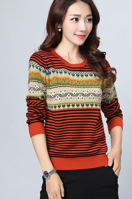 Stripe Pattern Print Round Neck Woman Pullovers - Red