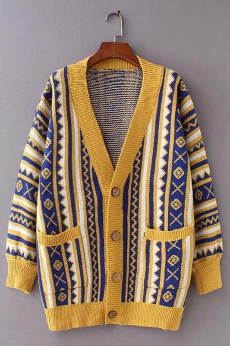 Ethnic Style Multicolor Argyle Cardigans Sweater for Girls/Women - Yellow