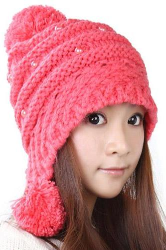 Free Shipping Lovely Female Winter Hat Knit Wool Cap - Watermelon Red