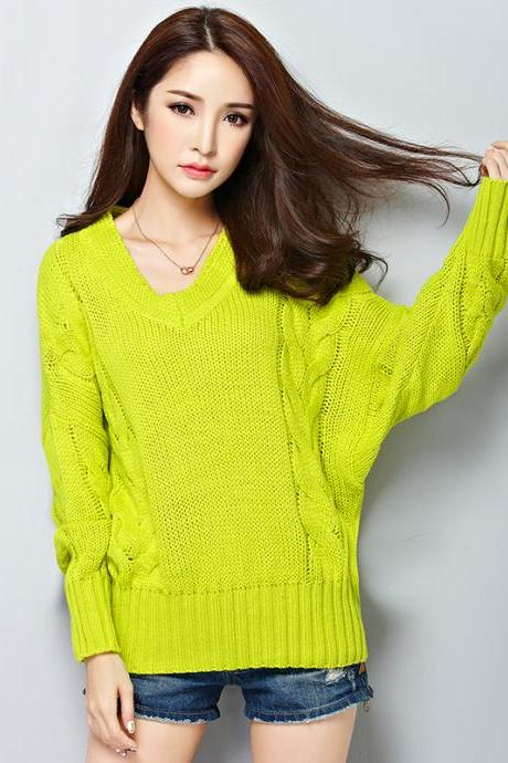 Comfy Loose V Neck Woman Pullovers