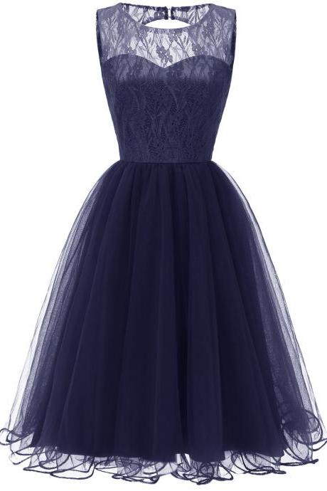 Lace Patchwork Women Vintage Dress Autumn Summer Sleeveless Hollow Party Dress - Dark Blue