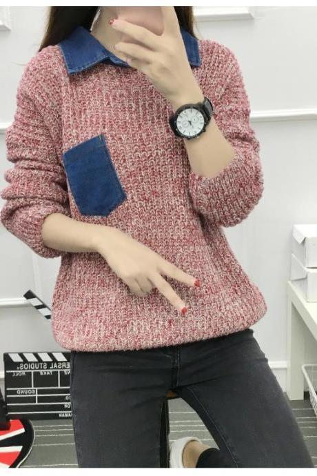 Women pocket loose thin sweater knit shirt