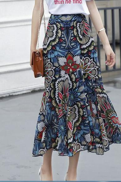 New Floral Chiffon Ruffles High Waist Long Skirt