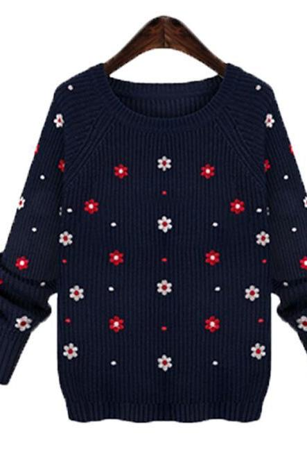 Cute Navy Blue Long Sleeve O-Neck Pullovers Sweater