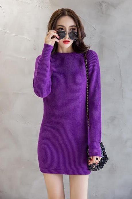 New Women Purple Color Slim Sweater