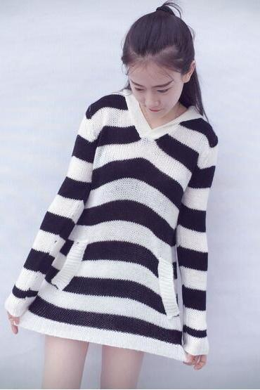 Striped Long Pattern Cardigans With Hat
