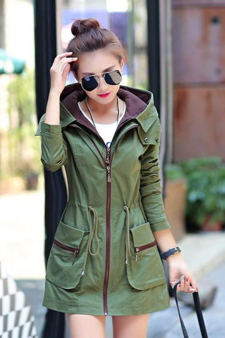New Fashion Elastic Waist Hooded Trench Coat - Army Green