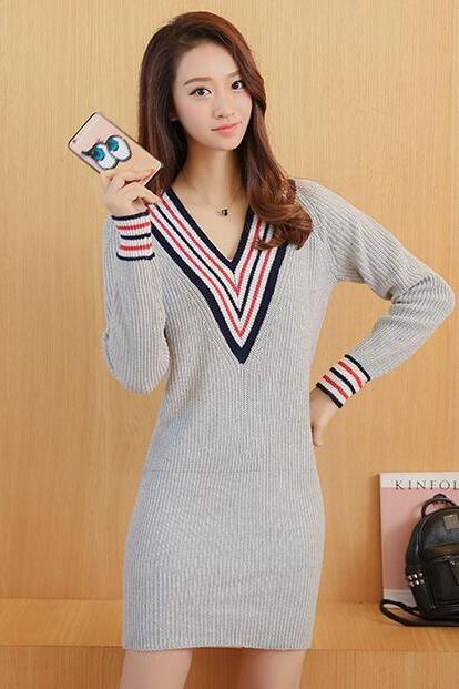 Casual V-neck Long Sleeve Sweater Dress