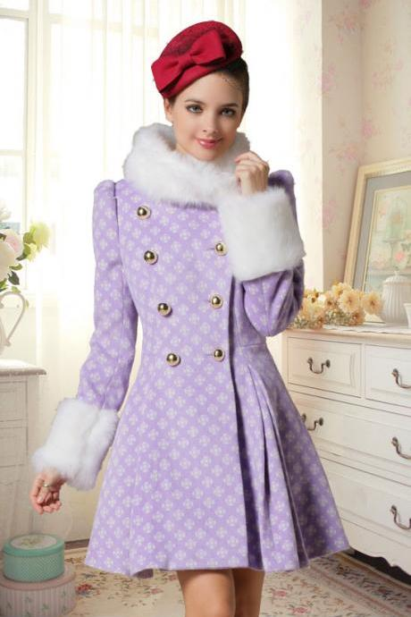 High Quality Fashion Wool Long Winter Dress Coat For Women - Purple