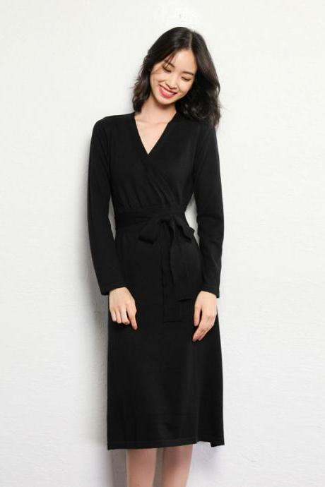 High Quality Long Sleeve V Neck Sweater Dress - Black