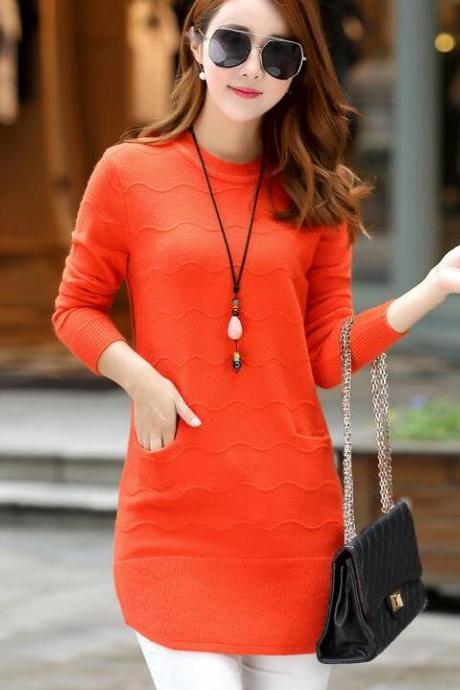 Knitting Womens Long Sleeves Long Style Loose Sweater - Orange