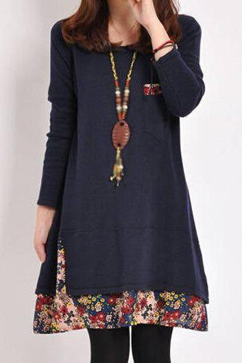 Fashion Pocket Design Long Sleeve Navy Blue Dress