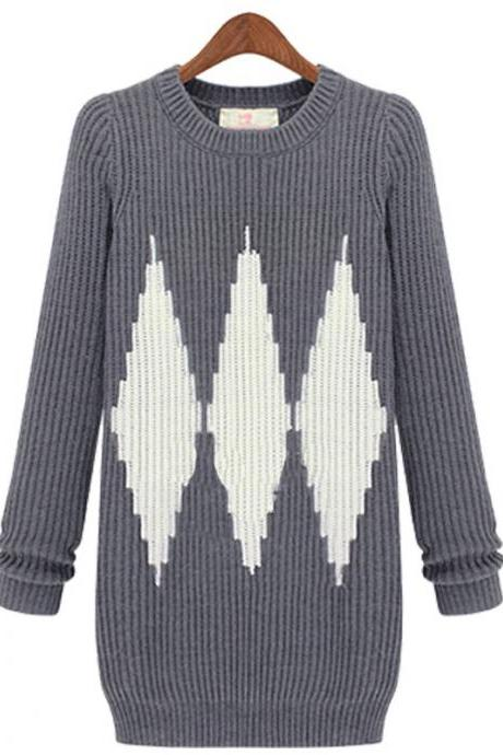 Large Size Diamond Pattern Warm Knit Women Sweaters And Pullovers - Grey
