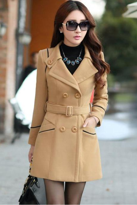 Fashion Belt Design Turndown Collar Coat - Khaki