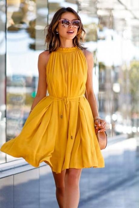 Elegant Sleeveless High Waist Dress for Lady - Yellow