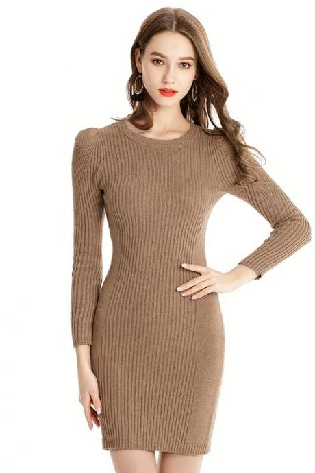 New Round Neck Sweater Dress