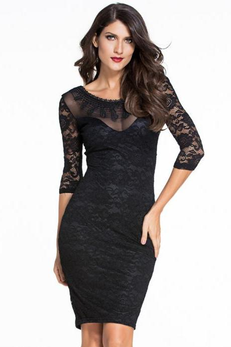 Sexy Black Lace Hollow Half Sleeve Dress