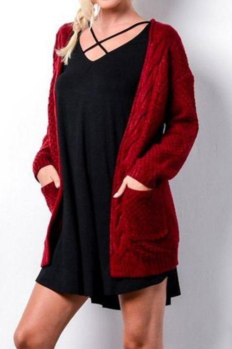 New Autumn Winter Long Sleeve Loose Casual Sweater Coat Cardigan Coat Women Outwear - Red