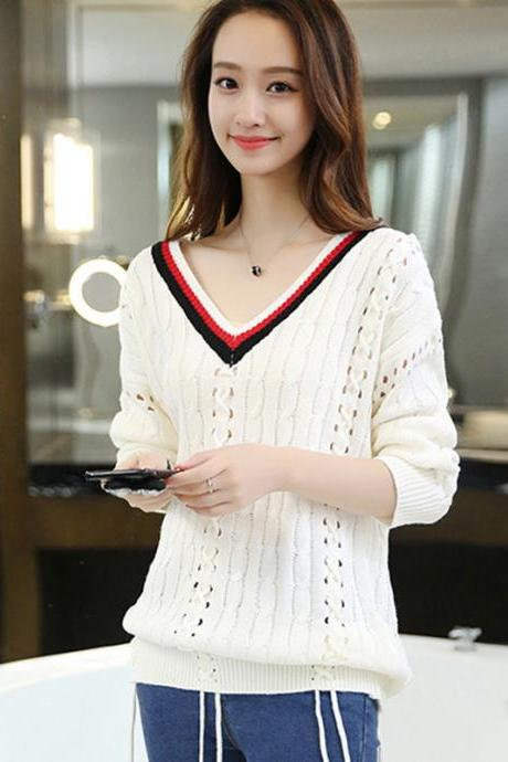Fashion Looose White Color V neck Hollow Sweater