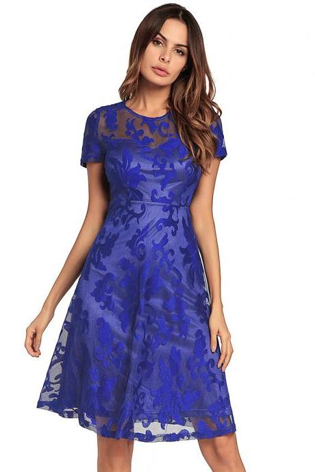 New Hollow Lace Short Sleeve Round Neck Dress - Blue