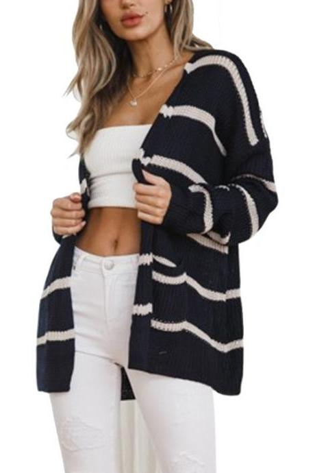 Womens Slim Fit Knitted Long Sleeve Stripe Loose Sweater Outwear Cardigan - Black