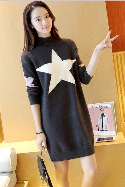 Cute Star Loose Pullover Sweater Dress - Dark Grey