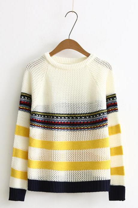 Autumn New Stripe Hollow Loose Women Sweater