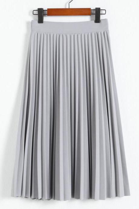 Elegant Summer Chiffon Women Pleated Long Skirts