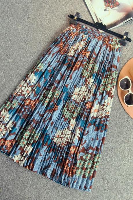 New High Waist Printing Pleated Chiffon Long Skirt - Blue