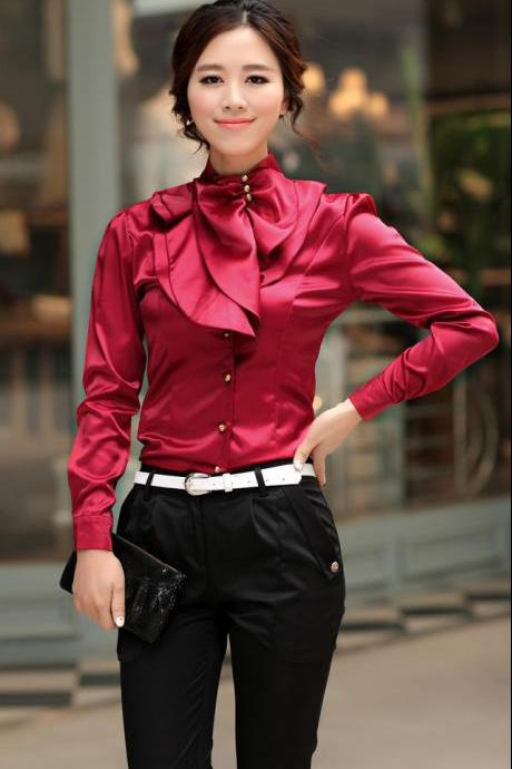 Laconic Mandarin Collar Puff Sleeve Ruffled Rayon Shirt - Wine Red