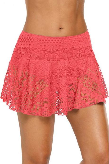 Mid Waist Pierced Swimwear Pantskirt - Orange