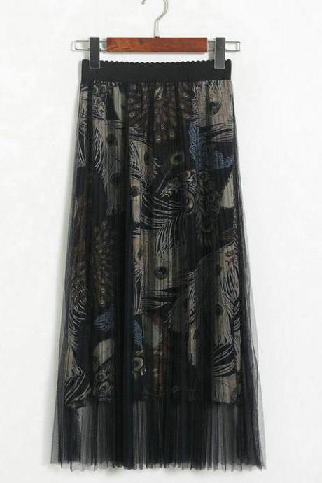 New High Waisted Pleated Printed Long Skirt -