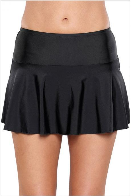 Solid Black Swimwear Pantskirt