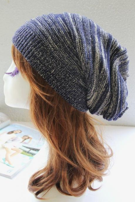 Free Shipping Women Stripe Knitted Hat Cap - Dark Blue