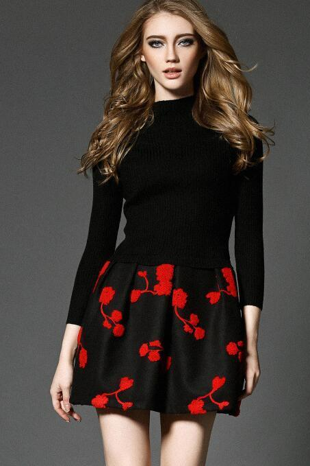 Luxury Designer Flower Long Sleeve Knitting Dress