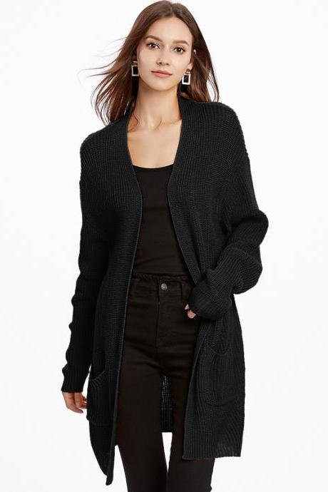 Fashion Solid Cardigans Sweater - Black